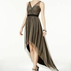 NWT Adrianna Papell Glitter Tulle High-Low Gown